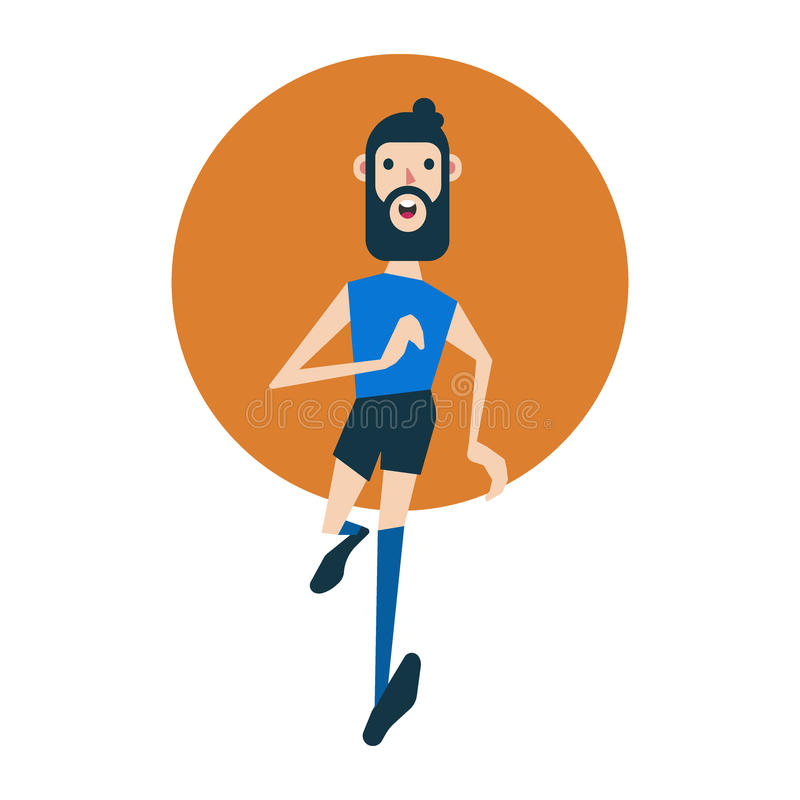 Homem caucasiano novo do moderno com corredor da barba Desportista feliz que corre fora ilustração stock