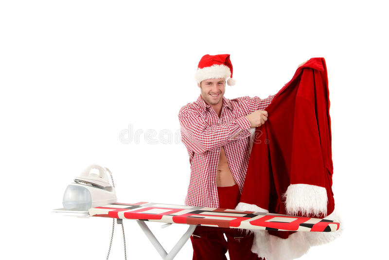Homem caucasiano novo, Papai Noel imagens de stock royalty free