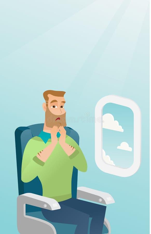 Homem caucasiano novo que sofre do aerophobia ilustração stock