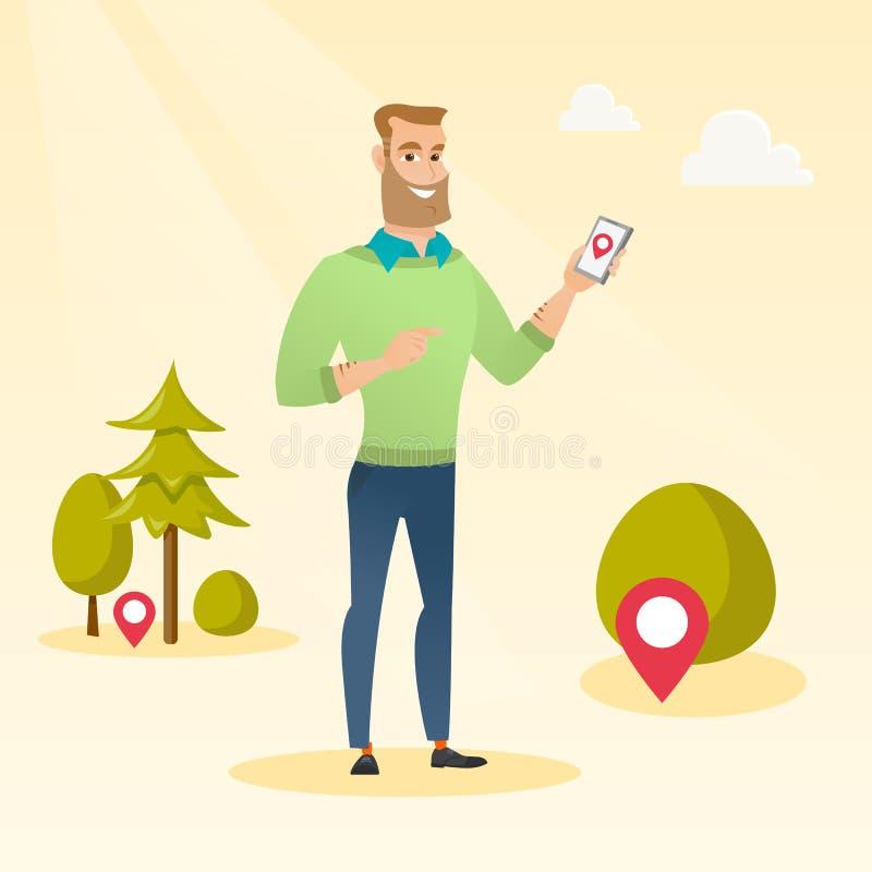Homem caucasiano que joga o jogo de ação no smartphone ilustração royalty free
