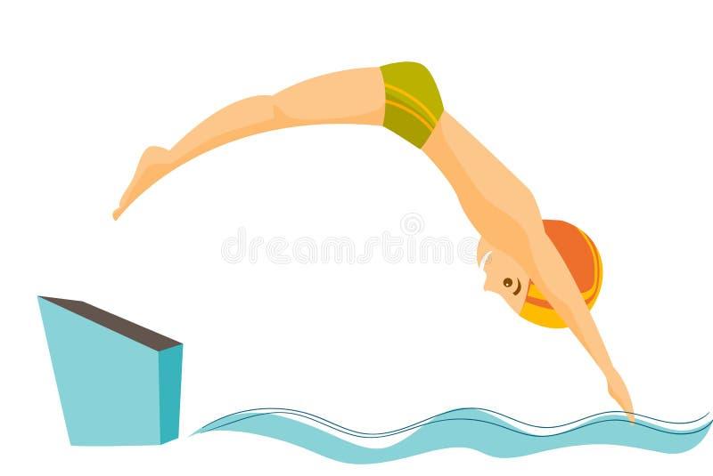 Homem caucasiano que salta na piscina ilustração do vetor