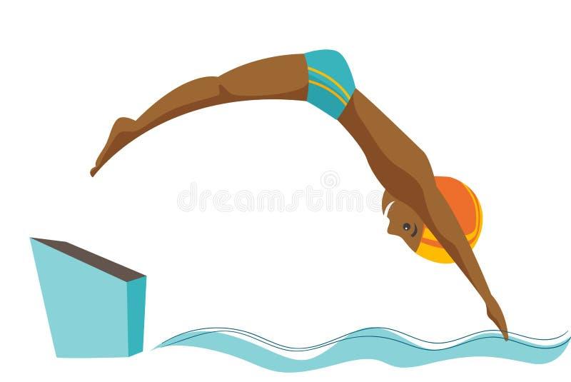 Homem caucasiano que salta na piscina ilustração stock