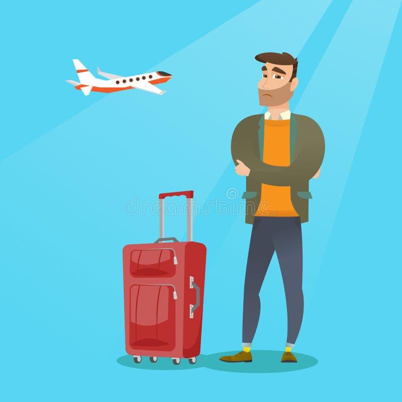Homem caucasiano que sofre do medo do voo ilustração royalty free