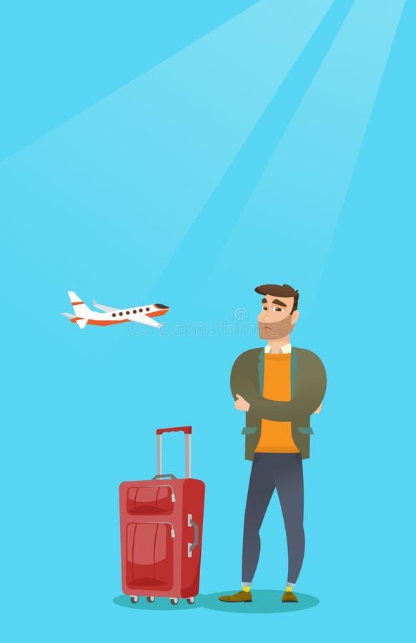 Homem caucasiano que sofre do medo do voo ilustração stock