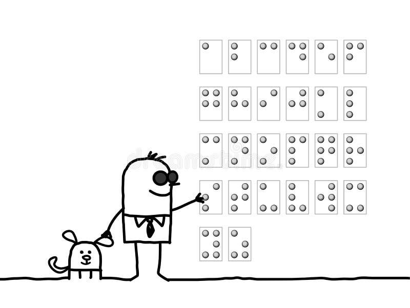 Homem cego & alfabeto de Braille ilustração stock