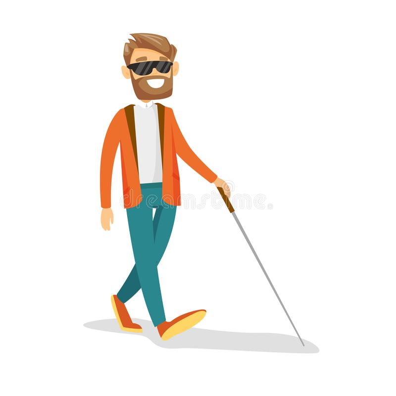 Homem cego branco caucasiano novo com uma vara ilustração royalty free