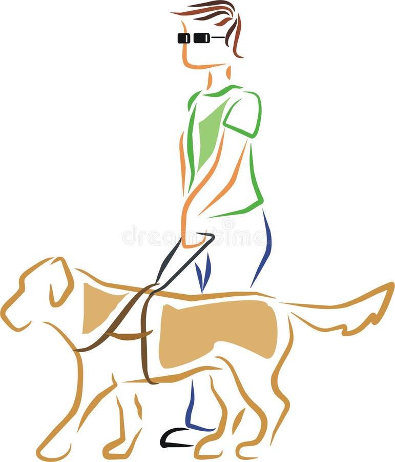 Homem cego com cão de guia ilustração do vetor
