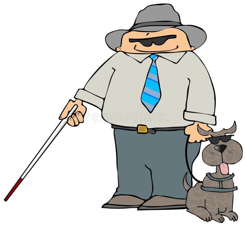 Homem cego com um cão ilustração stock