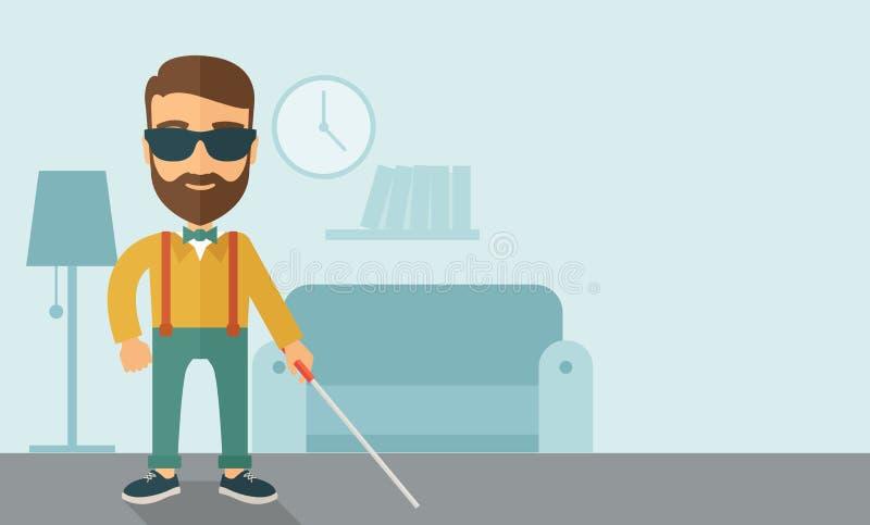 Homem cego com vara de passeio ilustração stock