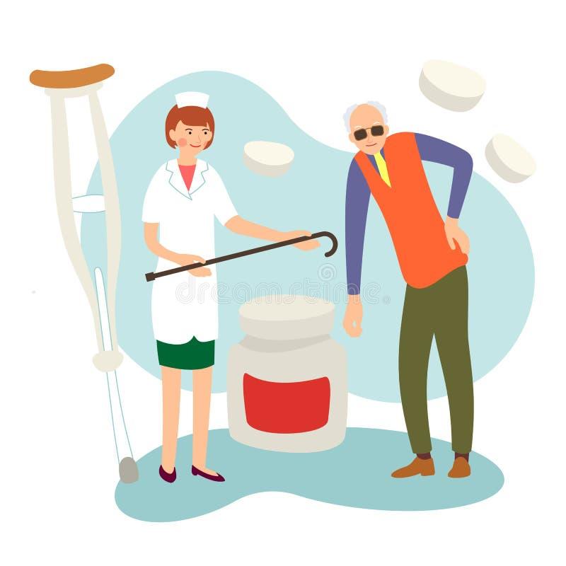 Homem cego e enfermeira O assistenet médico dá o bastão a inválido O homem idoso danificado precisa a ajuda ?oncept dos serviços  ilustração royalty free