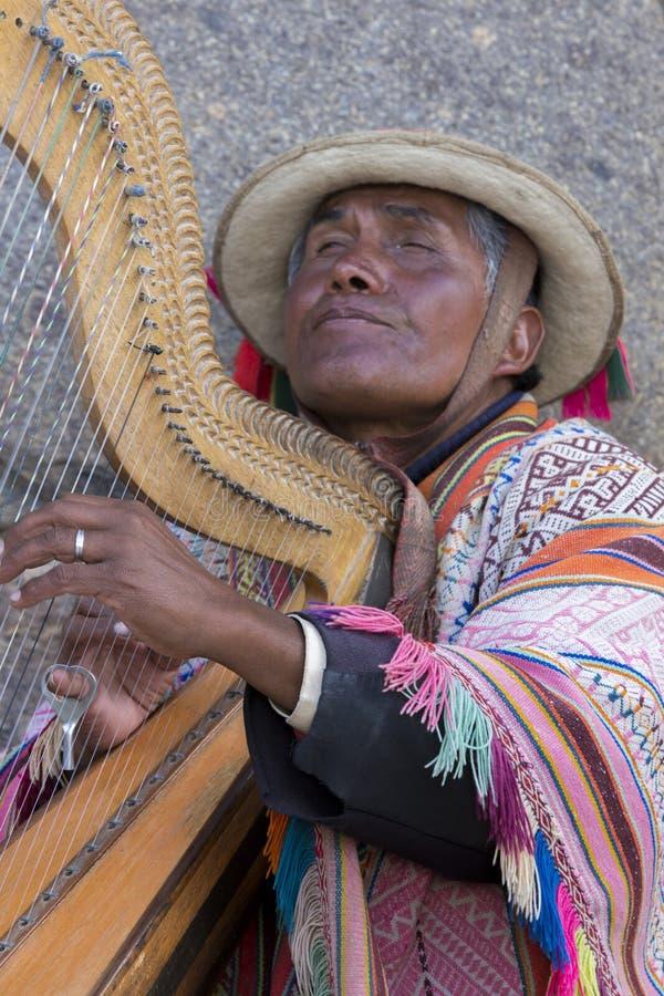 Homem cego peruano que joga a harpa em Cusco, Peru imagem de stock