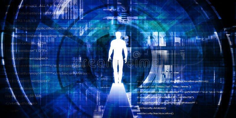 Homem cercado pela tecnologia ilustração do vetor