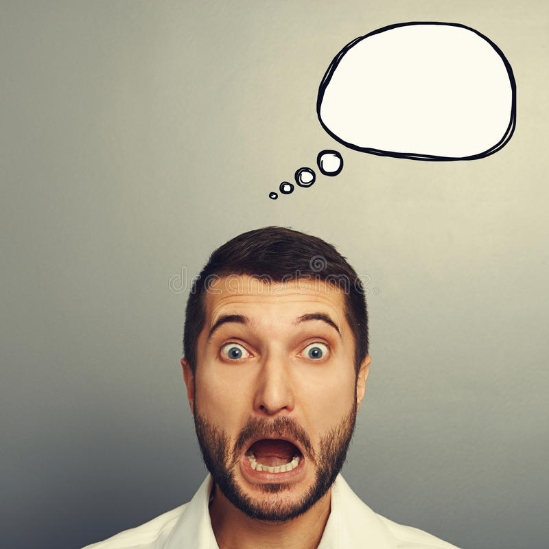 Homem chocado com bolha vazia do discurso imagem de stock royalty free