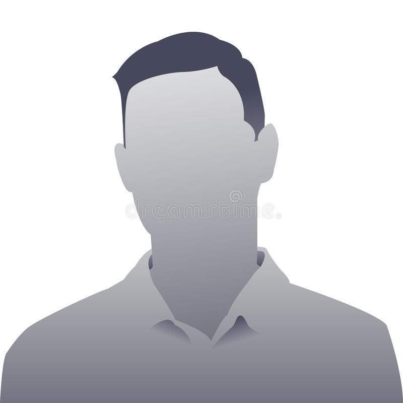 Homem cinzento do placeholder da foto da pessoa genérica ilustração stock