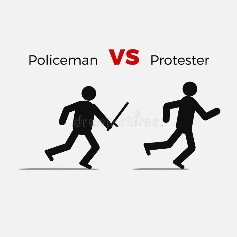 Homem civil do ataque irritado do polícia ilustração do vetor