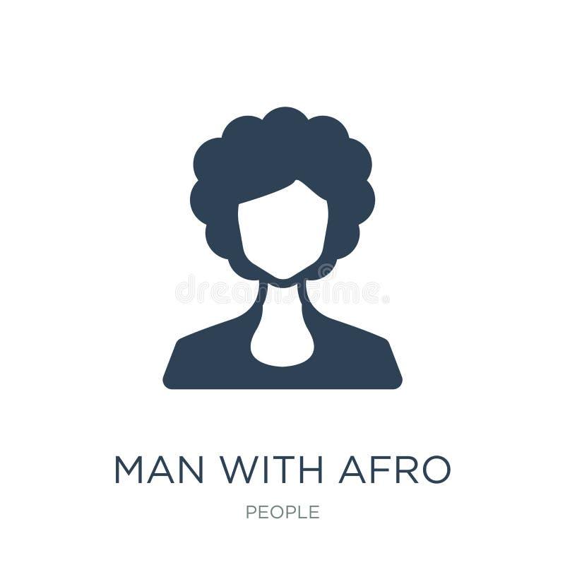 homem com ícone afro do penteado no estilo na moda do projeto homem com o ícone afro do penteado isolado no fundo branco Homem co ilustração stock