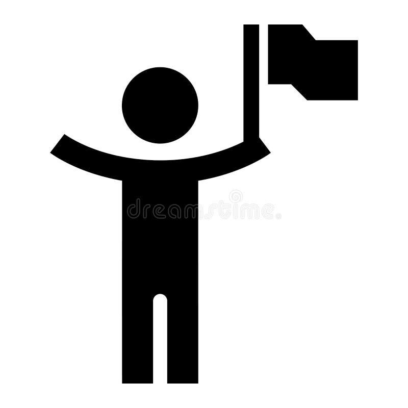Homem com ícone da bandeira, estilo simples ilustração royalty free