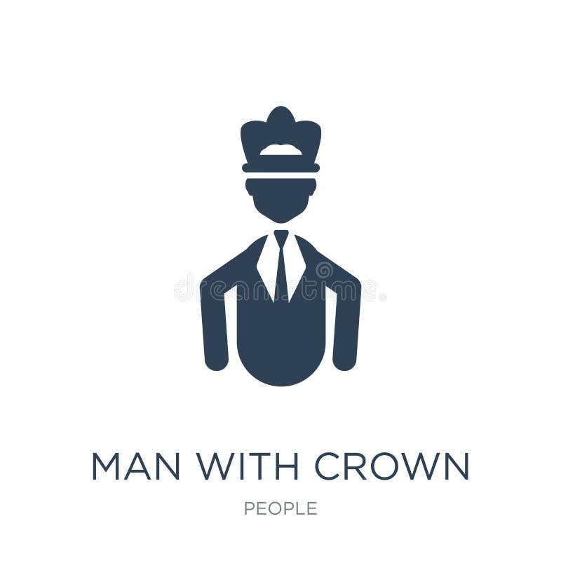 homem com ícone da coroa no estilo na moda do projeto homem com o ícone da coroa isolado no fundo branco homem com o ícone do vet ilustração royalty free