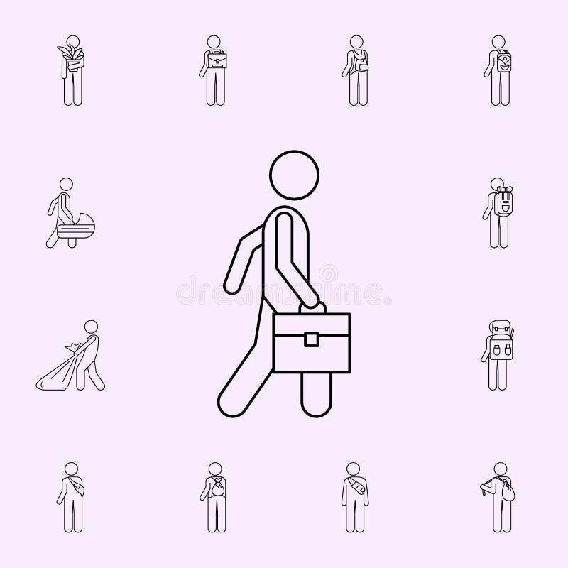 homem com ícone da ilustração do breve caso Grupo universal masculino dos ?cones do saco e da bagagem para a Web e o m?bil ilustração do vetor