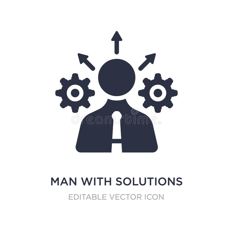 homem com ícone das soluções no fundo branco Ilustração simples do elemento do conceito do negócio ilustração do vetor