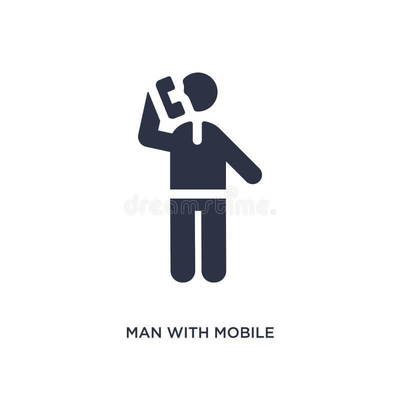 homem com ícone do telefone celular no fundo branco Ilustração simples do elemento do conceito do comportamento ilustração royalty free