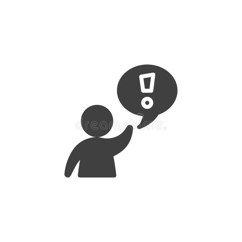 Homem com ícone do vetor da nuvem da marca de exclamação ilustração royalty free
