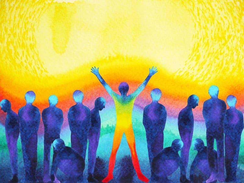 Homem com a aquarela clara positiva do poder e do universo que pinta a arte finala abstrata ilustração royalty free