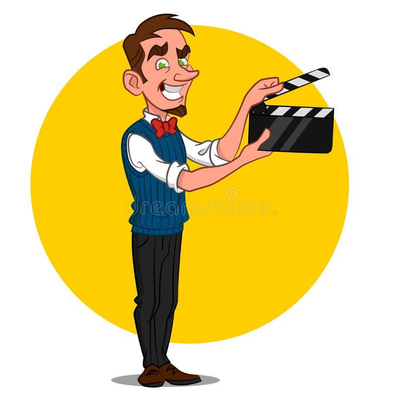 Homem com ardósia do filme fotografia de stock
