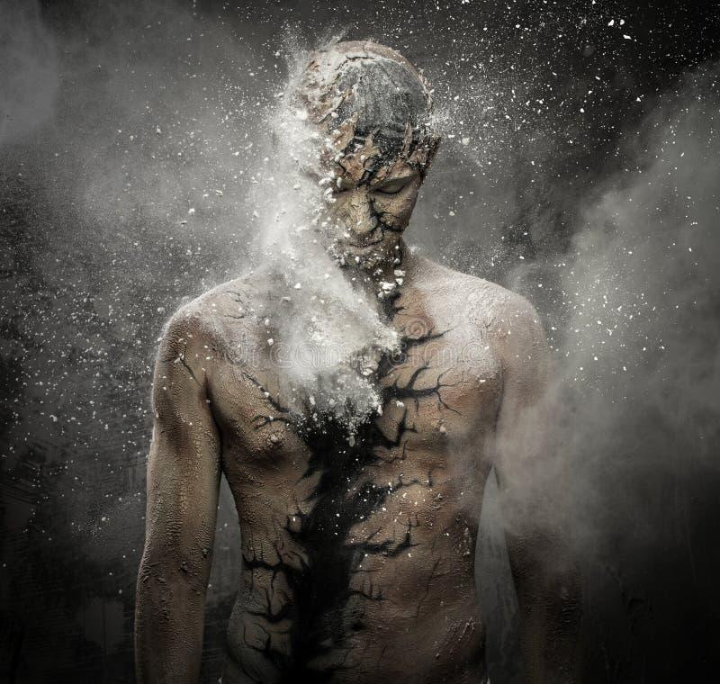 Homem com arte corporal espiritual imagem de stock