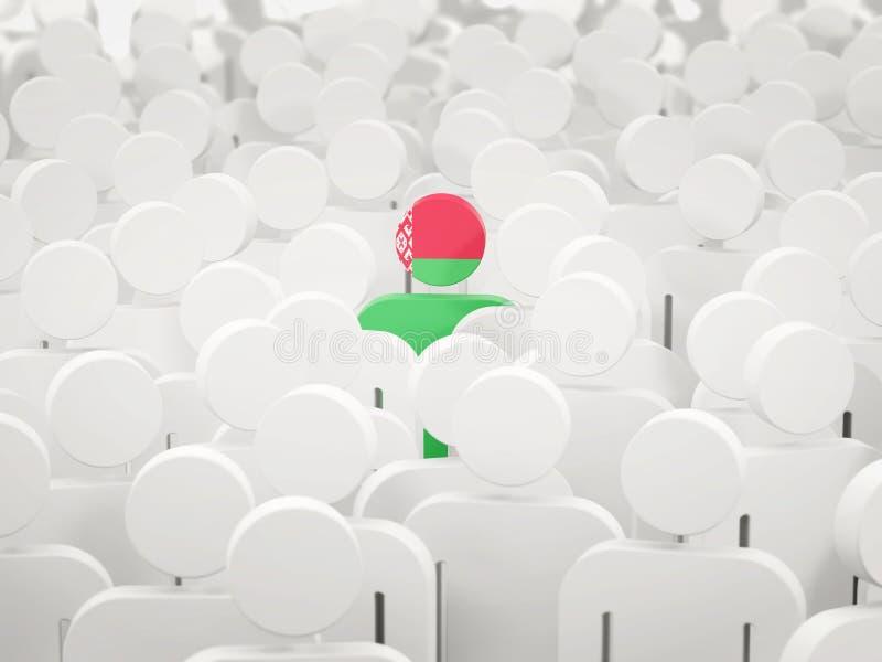 Homem com a bandeira de belarus em uma multidão ilustração stock