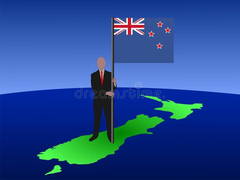 Homem com bandeira de Nova Zelândia ilustração stock