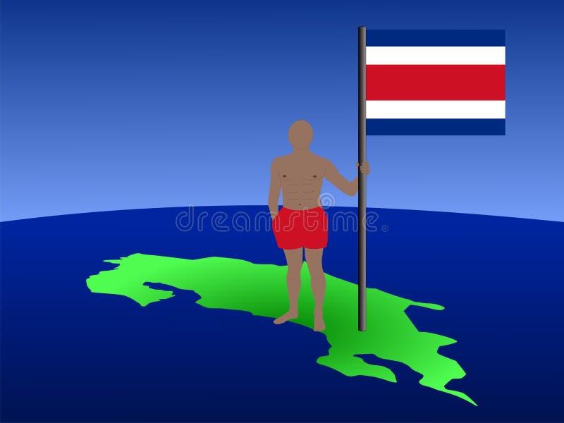 Homem com a bandeira de Rican da costela ilustração royalty free