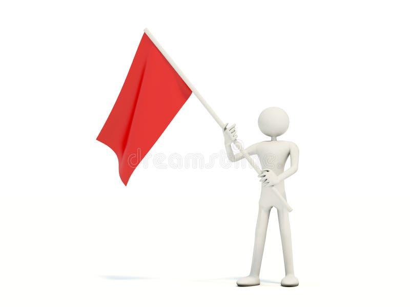 Download Homem Com Bandeira Vermelha Ilustração Stock - Ilustração de negócio, vibrar: 10054321