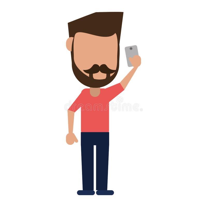 Homem com barba do bigode usando o smartphone ilustração stock