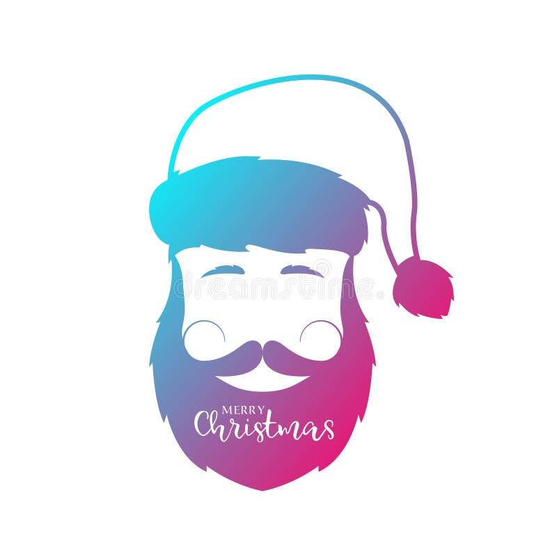 Homem com barba e bigode que veste o chapéu de Santa Claus ilustração royalty free