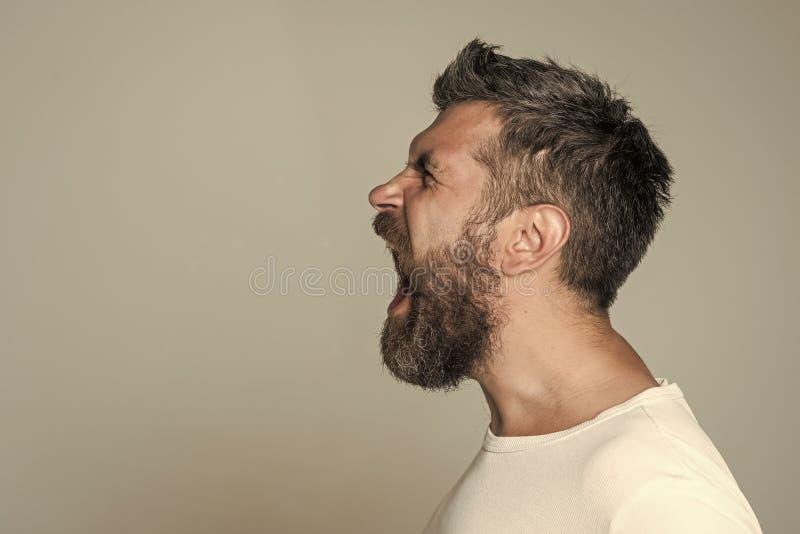 Homem com a barba longa na cara irritada fotografia de stock royalty free