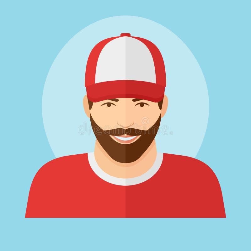 Homem com a barba no ícone liso do estilo do boné de beisebol ilustração royalty free