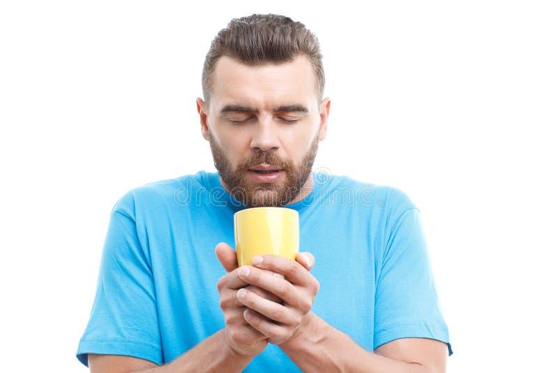 Homem com a barba que guarda a xícara de café imagem de stock