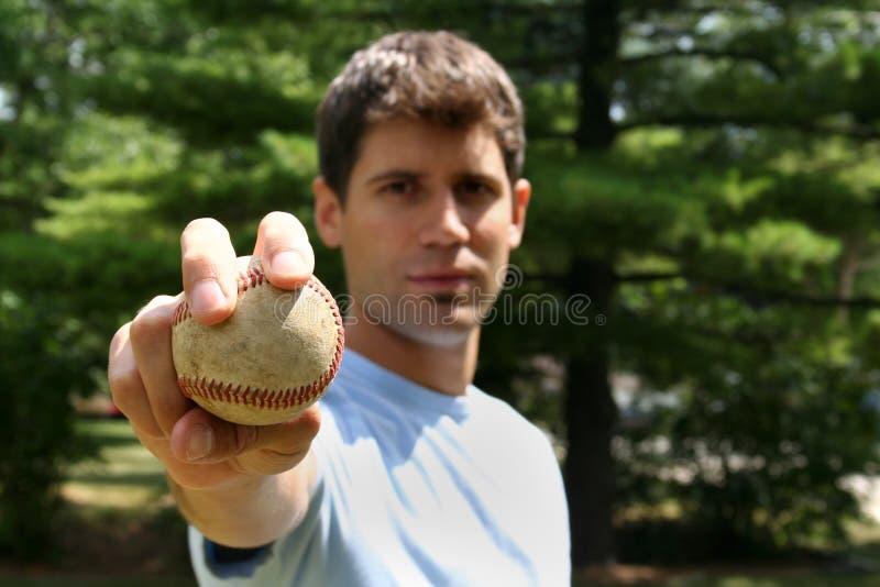 Homem com basebol imagens de stock