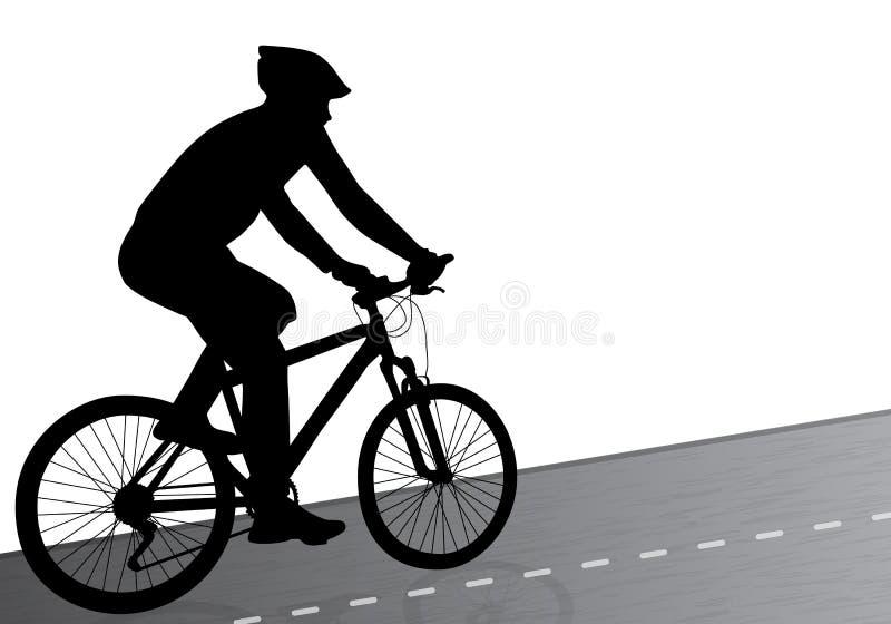 Homem com a bicicleta na estrada ilustração do vetor