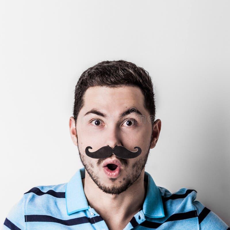 Homem com bigode falsificado fotografia de stock