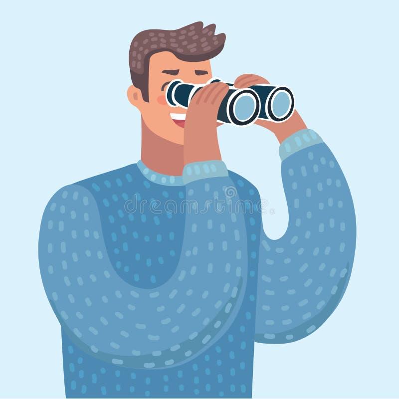 Homem com binóculos ilustração royalty free