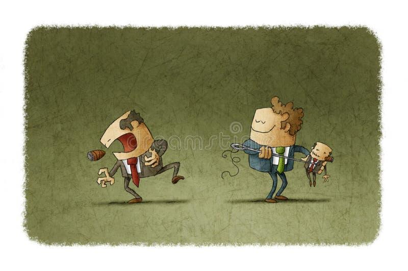 Homem com boneca do vudu e homem com dor ilustração royalty free