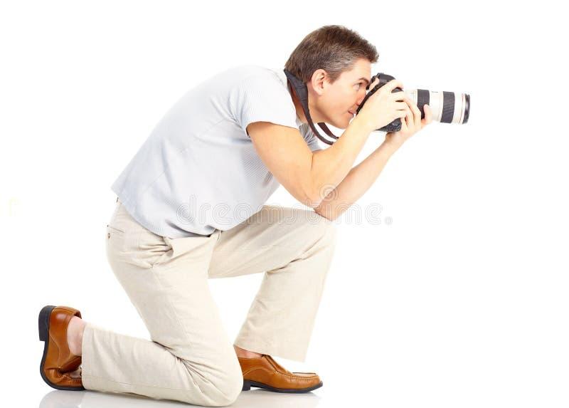 Homem com câmera da foto foto de stock