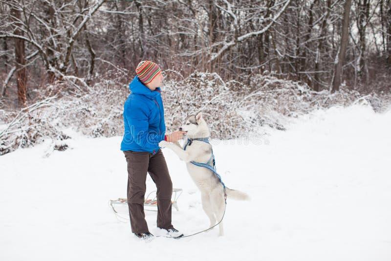Homem com cão ronco fotografia de stock