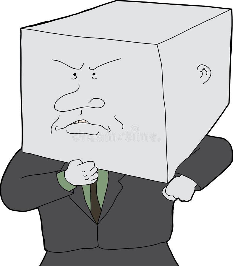 Homem com cabeça do bloco ilustração royalty free