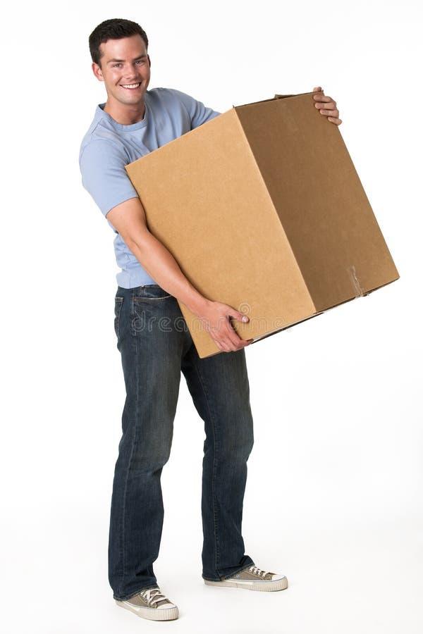 Homem com caixa foto de stock royalty free