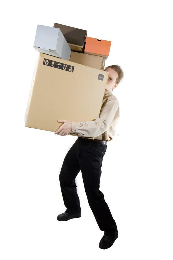 Homem com caixas fotografia de stock royalty free