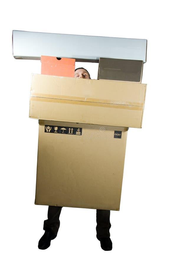 Homem com caixas imagens de stock