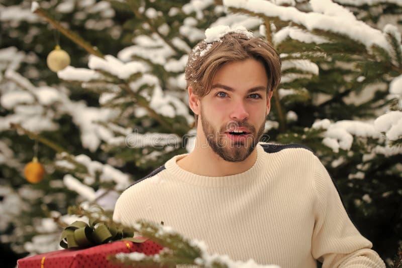 Homem com cara farpada e neve no cabelo louro foto de stock